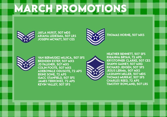 The March 2021 Enlisted Promotions graphic from the 507th Air Refueling Wing at Tinker Air Force Base, Oklahoma. (U.S. Air Force graphic by Senior Airman Mary Begy)