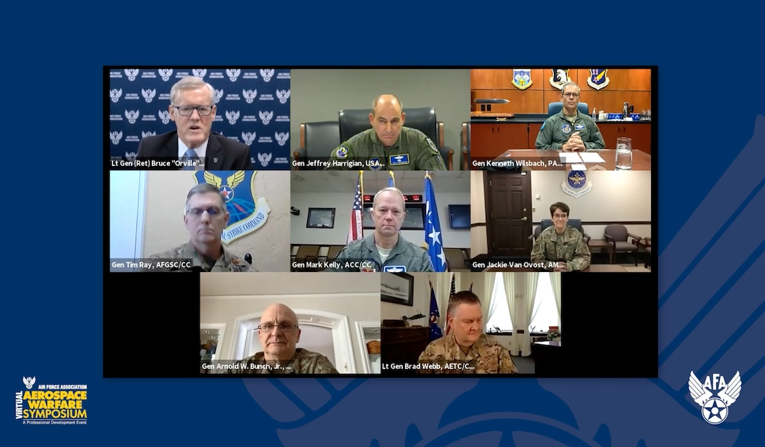 """U.S. Air Force Gen. Mark Kelly, commander of Air Combat Command, speaks during the 2021 Virtual Air Force Warfare Symposium along with six major command senior leaders, Feb. 24, 2021. The other six major command senior leaders who all participated in the discussion on the """"Accelerating Change Across the Air Force"""" panel, are U.S. Air Force Gen. Timothy Ray, commander of Air Force Global Strike Command; U.S. Air Force Gen. Arnold Bunch, Jr., commander of Air Force Materiel Command; U.S. Air Force Gen. Kenneth Wilsbach, commander of Pacific Air Forces; U.S. Air Force Gen. Jaqueline Van Ovost, commander of Air Mobility Command; U.S. Air Force Lt. Gen. Marshall """"Brad"""" Webb, commander of Air Education and Training Command; U.S. Air Force Lt. Gen. James Slife, commander of Air Force Special Operations Command; and U.S. Air Force Gen. Jefferey Harrigian, commander of U.S. Air Forces in Europe & Air Forces Africa and commander, Allied Air Command."""