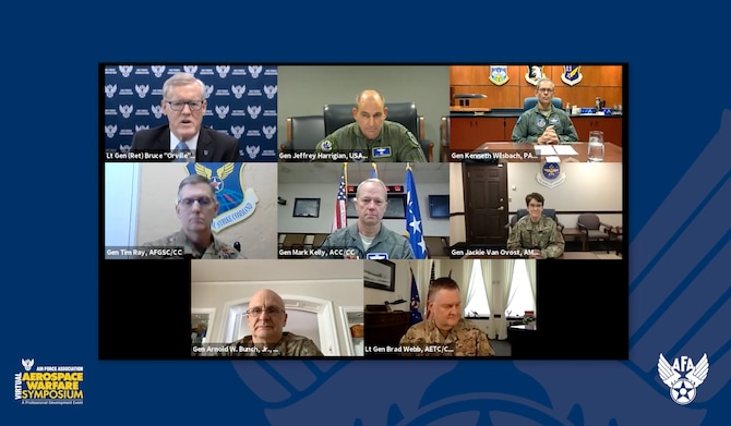 "U.S. Air Force Gen. Mark Kelly, commander of Air Combat Command, speaks during the 2021 Virtual Air Force Warfare Symposium along with six major command senior leaders, Feb. 24, 2021. The other six major command senior leaders who all participated in the discussion on the ""Accelerating Change Across the Air Force"" panel, are U.S. Air Force Gen. Timothy Ray, commander of Air Force Global Strike Command; U.S. Air Force Gen. Arnold Bunch, Jr., commander of Air Force Materiel Command; U.S. Air Force Gen. Kenneth Wilsbach, commander of Pacific Air Forces; U.S. Air Force Gen. Jaqueline Van Ovost, commander of Air Mobility Command; U.S. Air Force Lt. Gen. Marshall ""Brad"" Webb, commander of Air Education and Training Command; U.S. Air Force Lt. Gen. James Slife, commander of Air Force Special Operations Command; and U.S. Air Force Gen. Jefferey Harrigian, commander of U.S. Air Forces in Europe & Air Forces Africa and commander, Allied Air Command."