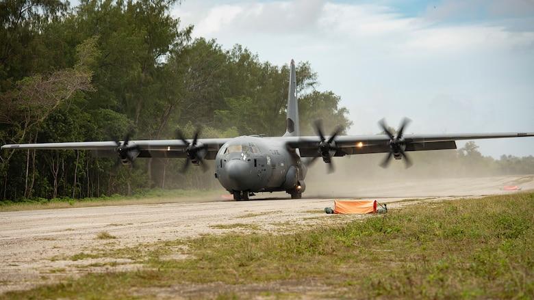 A U.S. Air Force C-130J Super Hercules, assigned to Yokota Air Base, Japan, lands during Cope North 21, Feb. 11, 2021, on Angaur, Palau.