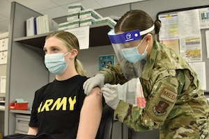 The 184th Medical Group administers COVID-19 vaccinations to Kansas Soldiers