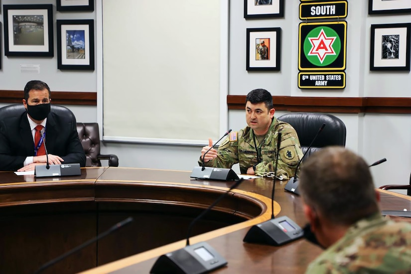 U.S. Army Col. Michael Lewczak (center), U.S. Army South assistant chief of staff for strategy, plans and policy, provides the closing remarks of the Operation Alamo Shield pre-deployment training seminar at Joint Base San Antonio-Fort Sam Houston Feb. 25.