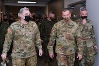 generals walk down a hall