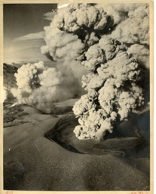 Aerial View of Volcano Erupting