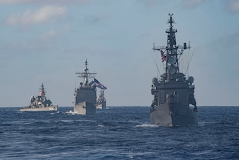 The Theodore Roosevelt Carrier Strike Group is operating with the JMSDF in the U.S. 7th Fleet area of operations.