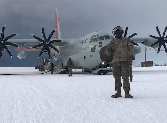 """A New York Air National Guard Airman on duty in Antarctica on Feb. 5, 2021, during a mission conducted in support of the National  Science Foundation by the 109th Airlift Wing. The 109th Airlift Wing deployed three LC-130  """"Skibird"""" aircraft and 50 Airmen to Christchurch, New Zealand, to run missions as required to Antarctica as part of the Department of Defense's Operation Deep Freeze."""