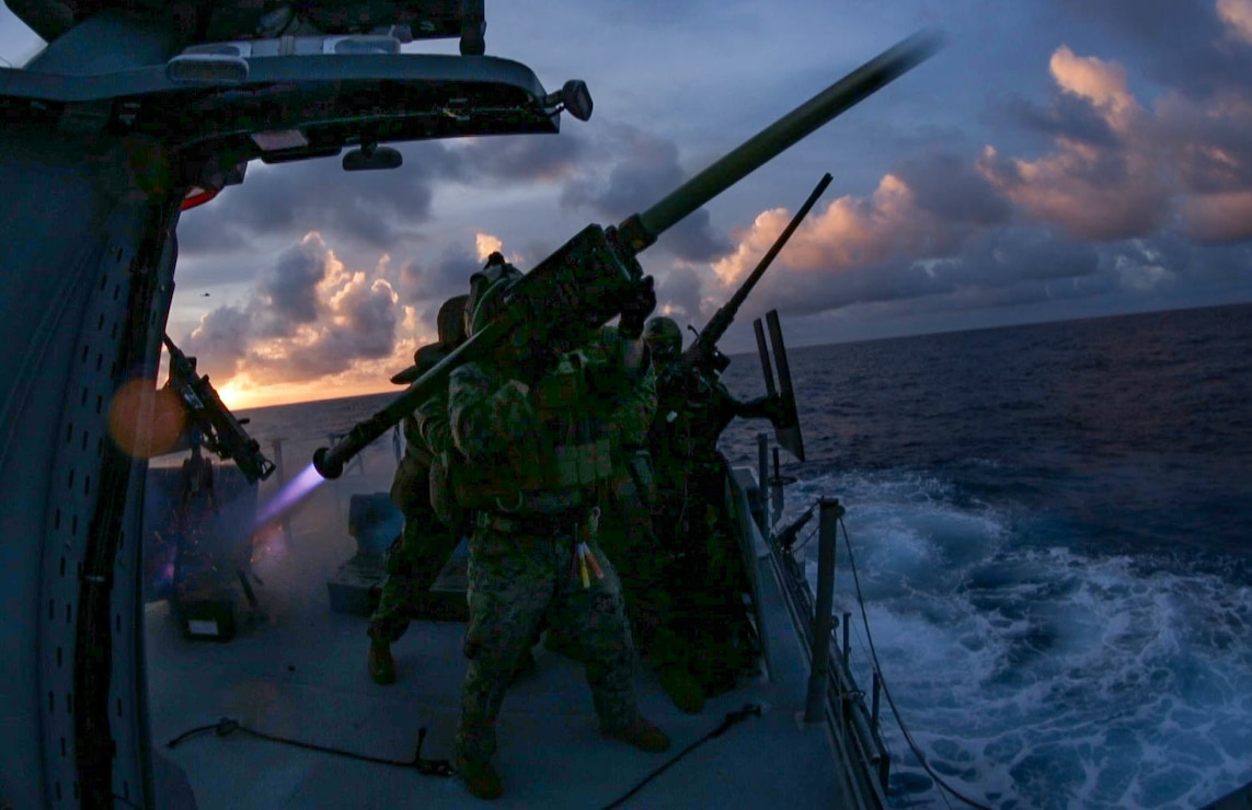 U.S. Marines fire a FIM-92 stinger missile from a Mark VI patrol boat during a live fire exercise in the Philippine Sea, Feb. 27.