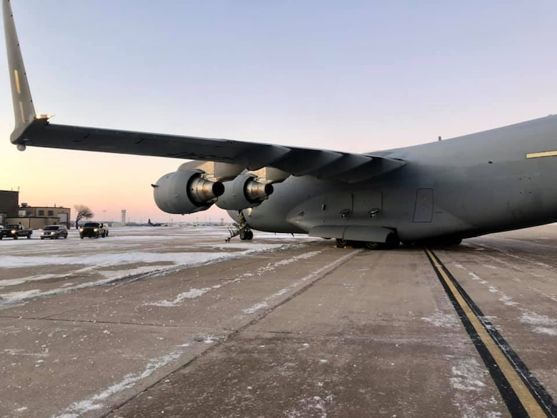In conjunction with a Texas Task Force, our 73rd Aerial Port Squadron and 301st Fighter Wing Logistics Readiness Squadron took action to deliver aid via two C-17 Globemasters to the local/state communities that are in recovery from the recent weather storm at U.S. NAS JRB Fort Worth, Texas during the week of February 14, 2021. In less than 18 hours from inception, the three organizations organized and executed the transportation of 280k lbs. of excess water (90k bottles) from the Federal Emergency Management Agency (FEMA) branch in Dallas/Fort Worth area. (courtesy photo)