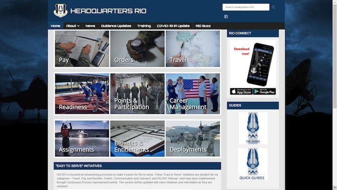 A view of the new Headquarters Readiness and Integration Organization website is presented in a screenshot March 2, 2021.