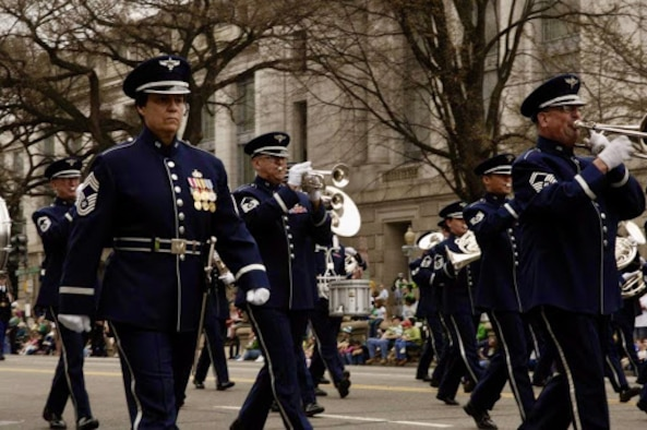 Chief Gartner marches alongside The U.S. Air Force Band in the 2006 St. Patrick's Day parade. She was the only Chief Enlisted Manager to don this exclusive uniform, complete with sword and scabbard.