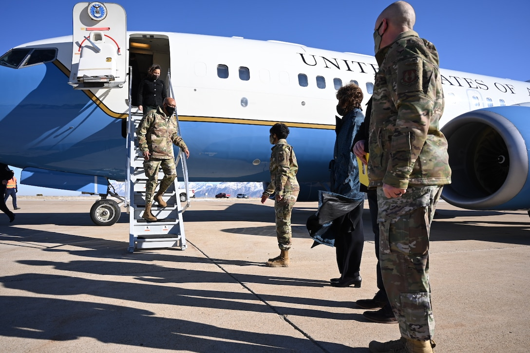 Air Force Chief of Staff Gen. Charles Q. Brown, Jr., and his wife, Sharene, descend the steps of a C-37 aircraft during their arrival to Hill Air Force Base, Utah, March 2, 2021.