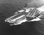 Attack aircraft carrier USS KITTY HAWK (CVA-63) steams the Pacific Ocean July 21,1969.