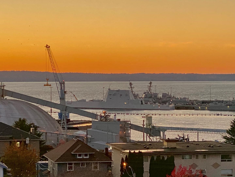 USS Zumwalt (DDG 1000) in port in Everett, Washington, at sunset on Nov. 8, 2020.