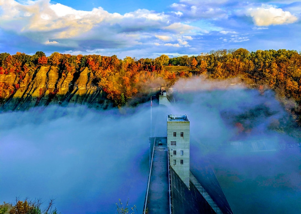 Mount Morris Dam during a foggy morning