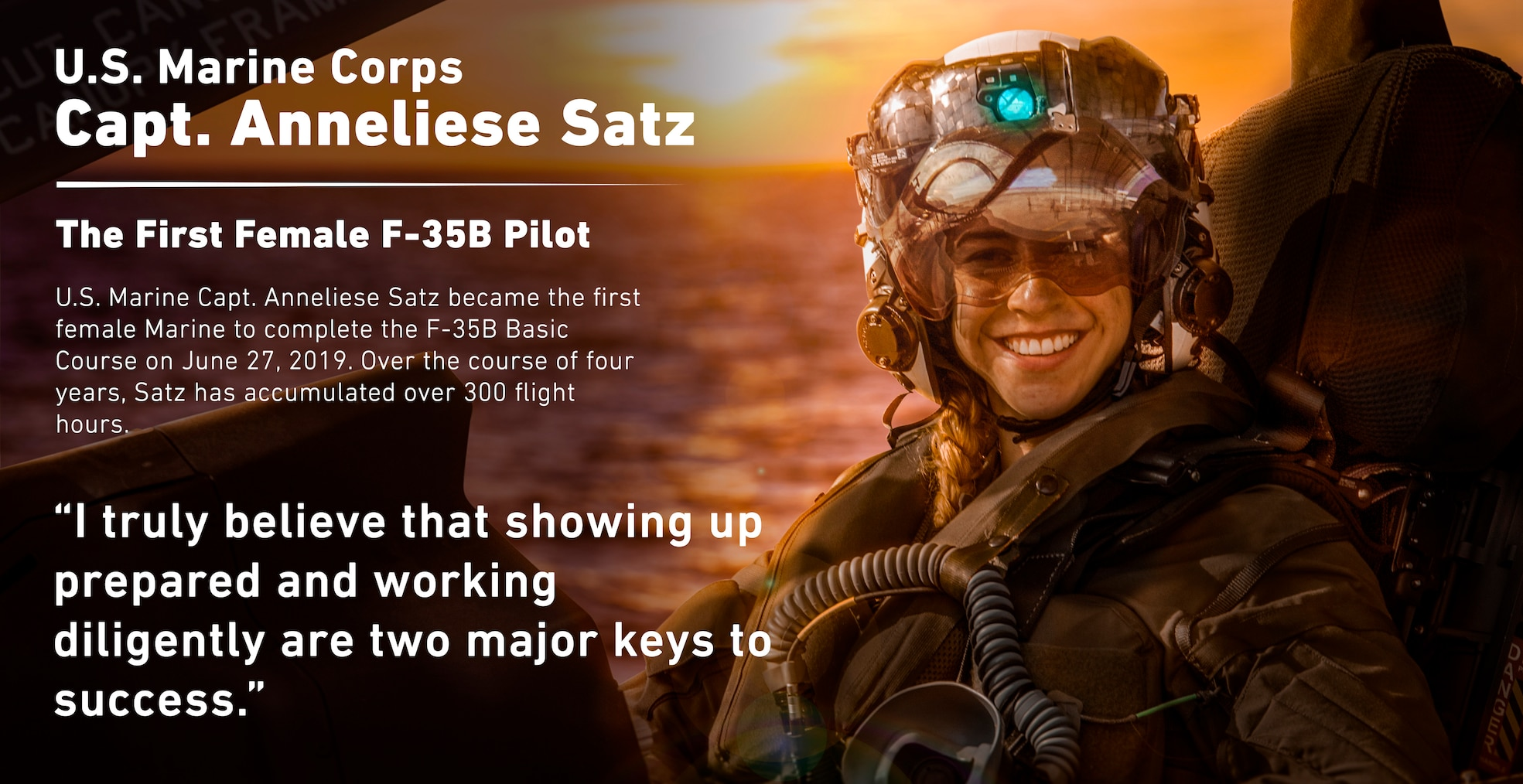 In honor of women's history month, this photo illustration features U.S. Marine Capt. Anneliese Satz, the first female Marine F-35B pilot. Satz graduated the F-35B Lighting II Pilot Training Program on June 27, 2019 with over 300 flight hours under her belt. This is just one of many historical milestones of women in the Marine Corps. (U.S. Marine Corps photo illustration by Cpl. Phuchung Nguyen)