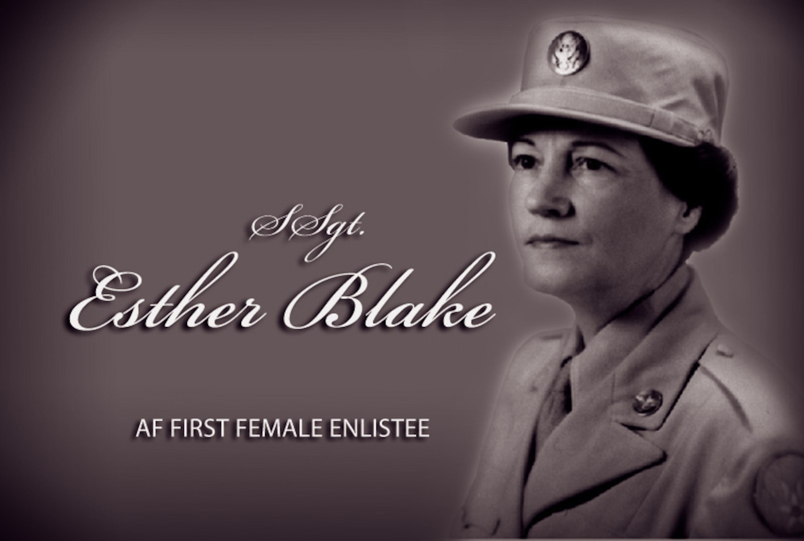 Esther McGowin Blake has the distinction of being the first woman to serve in the U.S. Air Force. She enlisted July 8, 1948, on the first minute of the first hour of the first day regular U.S. Air Force duty was authorized for women.