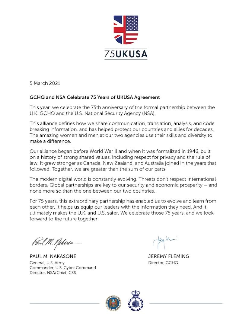 GCHQ and NSA Celebrate 75 Years of UKUSA Agreement