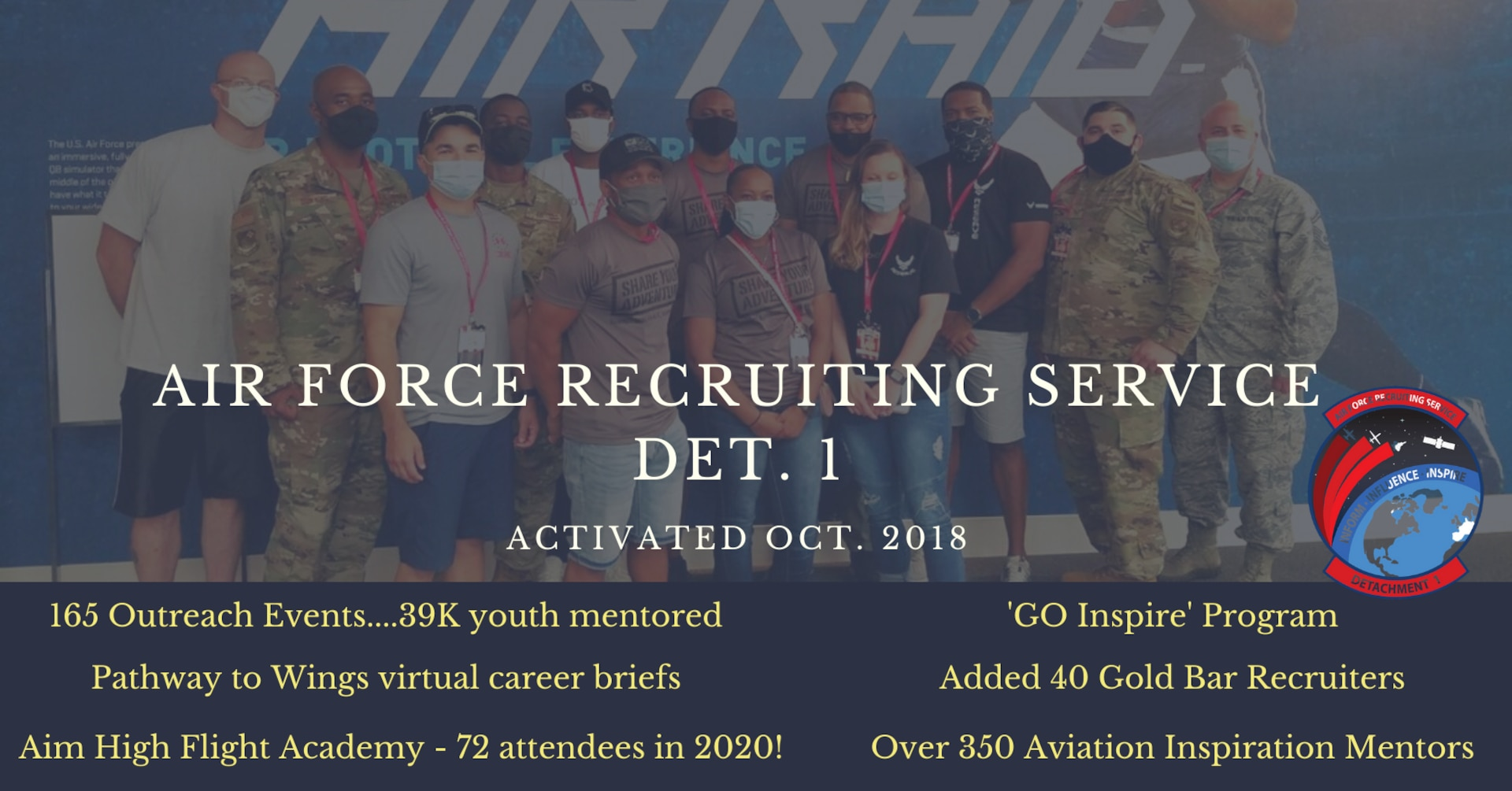 Airmen and recruits at sporting event