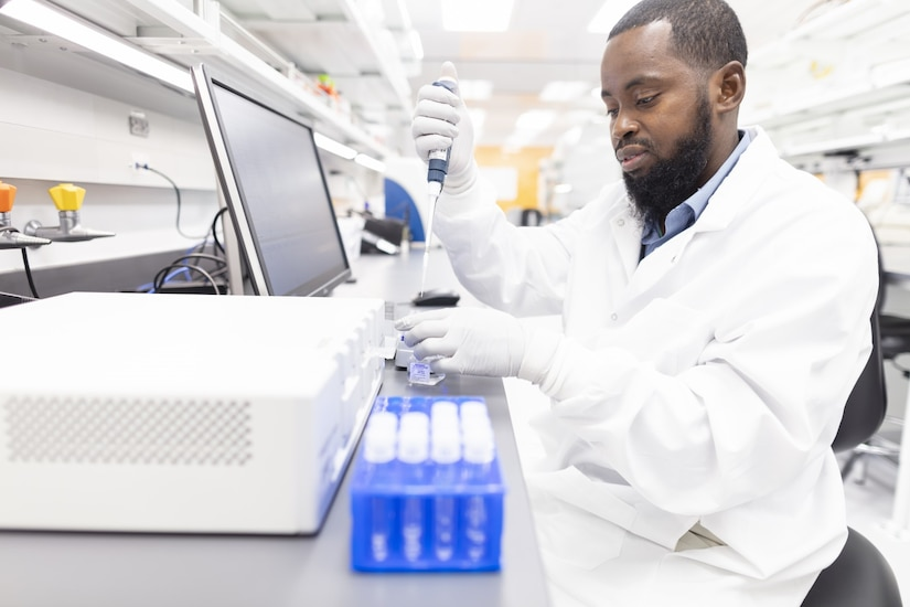 Biomedical specialist Mamadou Dialio at work in the Cedars-Sinai Biomanufacturing Center.
