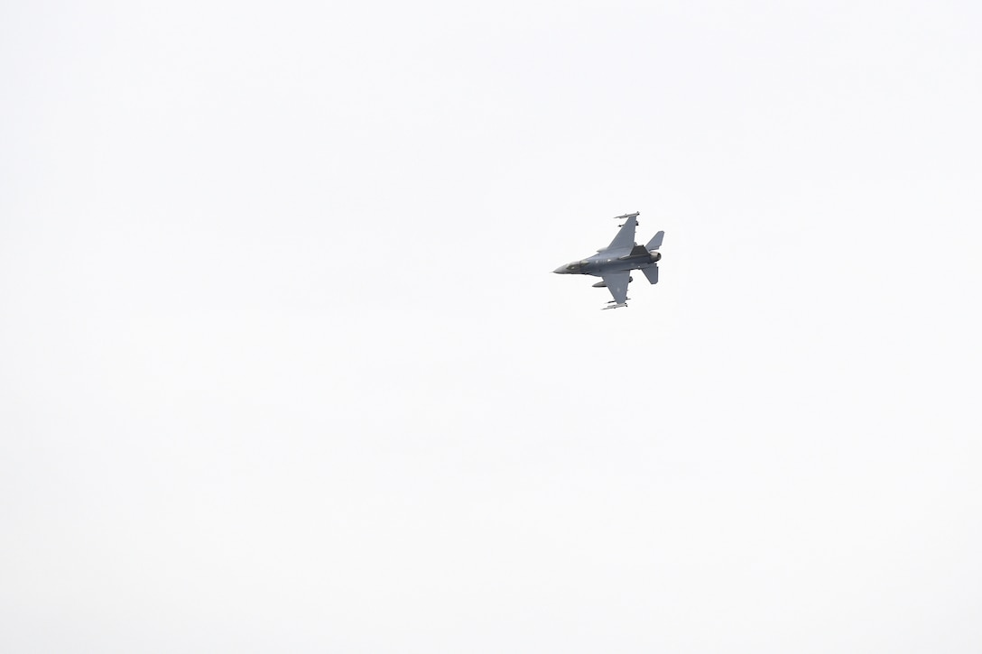 A U.S. Air Force F-16 Fighting Falcon soars to provide air support during Operation Porcupine in Romania, March 4, 2021.