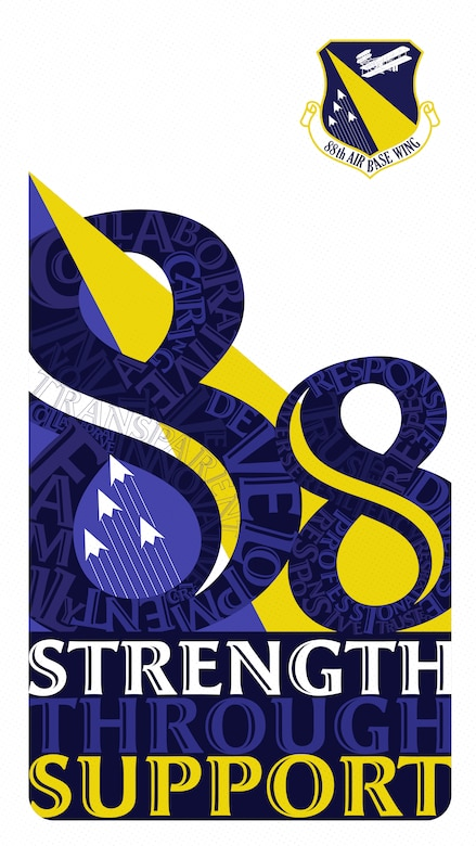 """88th Air Base Wing """"Strength Through Support"""" Logo. (U.S. Air Force graphic by David Clingerman)"""