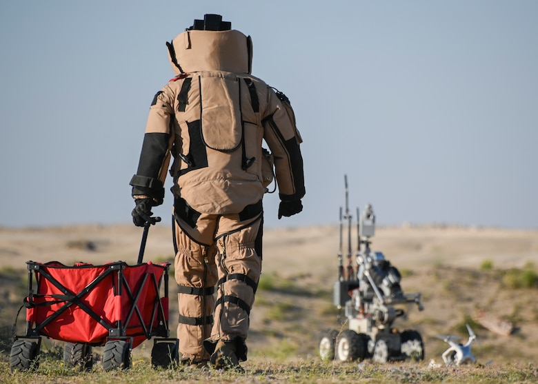 A photo of an Airman in a bomb suit