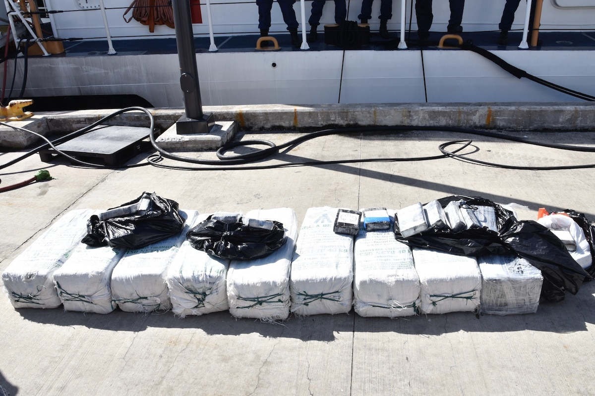 Bales of cocaine sit on the deck of Coast Guard Cutter Heriberto Hernandez.