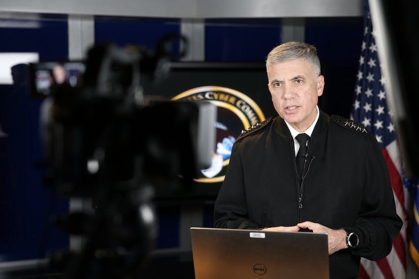 Army Gen. Paul M. Nakasone, U.S. Cyber Command commander and National Security Agency director, remarks on the complexities associated with working within cyberspace during the 2021 USCYBERCOM Legal Conference, March 3, 2021.