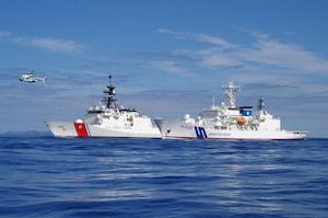Ships from the U.S. Coast Guard and Japan Coast Guard conducted exercises near the Ogasawara Islands of Japan,