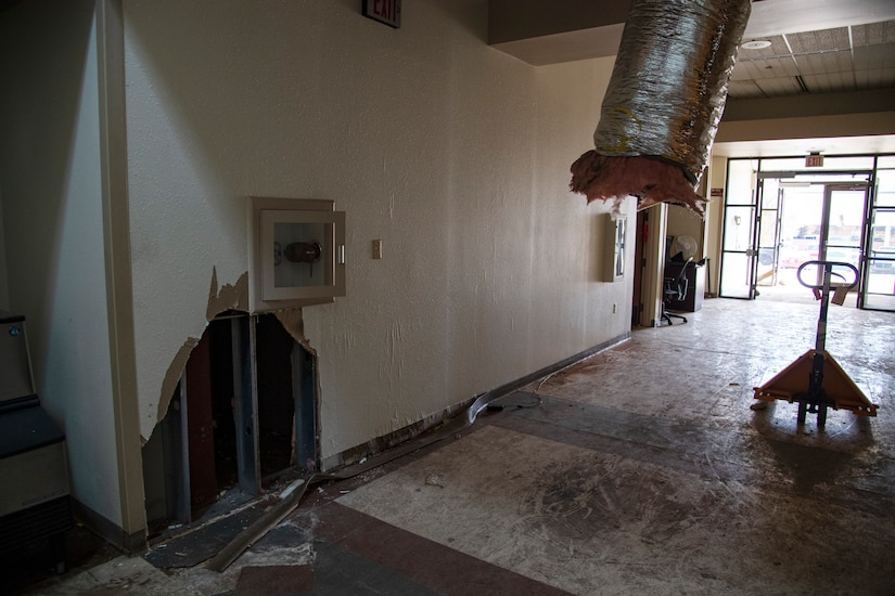 A photo of the damage within the 361st Training Squadron's Aerospace Ground Equipment schoolhouse at Sheppard Air Force Base, Texas, March 4, 2021. The Feb. 14, 2021, snowstorm damaged the AGE schoolhouse leaving it defunct. 210 training resources (equipment, hands-on trainers, etc.) were moved within two days. AGE continues training in their neighbor's schoolhouse and is slowly moving back. Complete repairs are estimated to take longer than a year. (U.S. Air Force photo by Senior Airman Pedro Tenorio)
