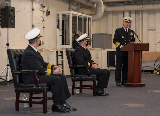 Adm. Christopher W. Grady, commander, U.S. Fleet Forces Command, speaks during the Naval Surface Force Atlantic (SURFLANT) change of command ceremony aboard the San Antonio-class amphibious transport dock ship USS Mesa Verde (LPD 19).