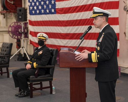 Rear Adm. Brad Cooper speaks during the Naval Surface Force Atlantic (SURFLANT) change of command ceremony aboard the San Antonio-class amphibious transport dock ship USS Mesa Verde (LPD 19).