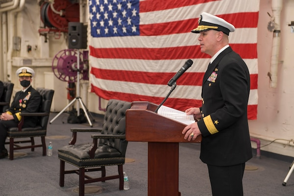 Rear Adm. Brendan McLane, commander, Naval Surface Force Atlantic (SURFLANT), speaks during the SURFLANT change of command ceremony aboard the San Antonio-class amphibious transport dock ship USS Mesa Verde (LPD 19).