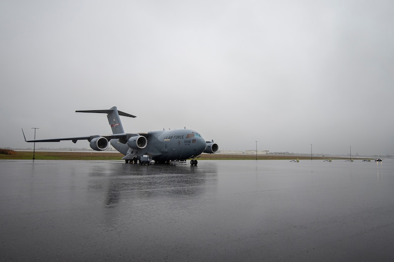 A C-17 Globemaster carries airmen and equipment from the 187th Fighter Wing to Dothan, Ala., March 1, 2021.