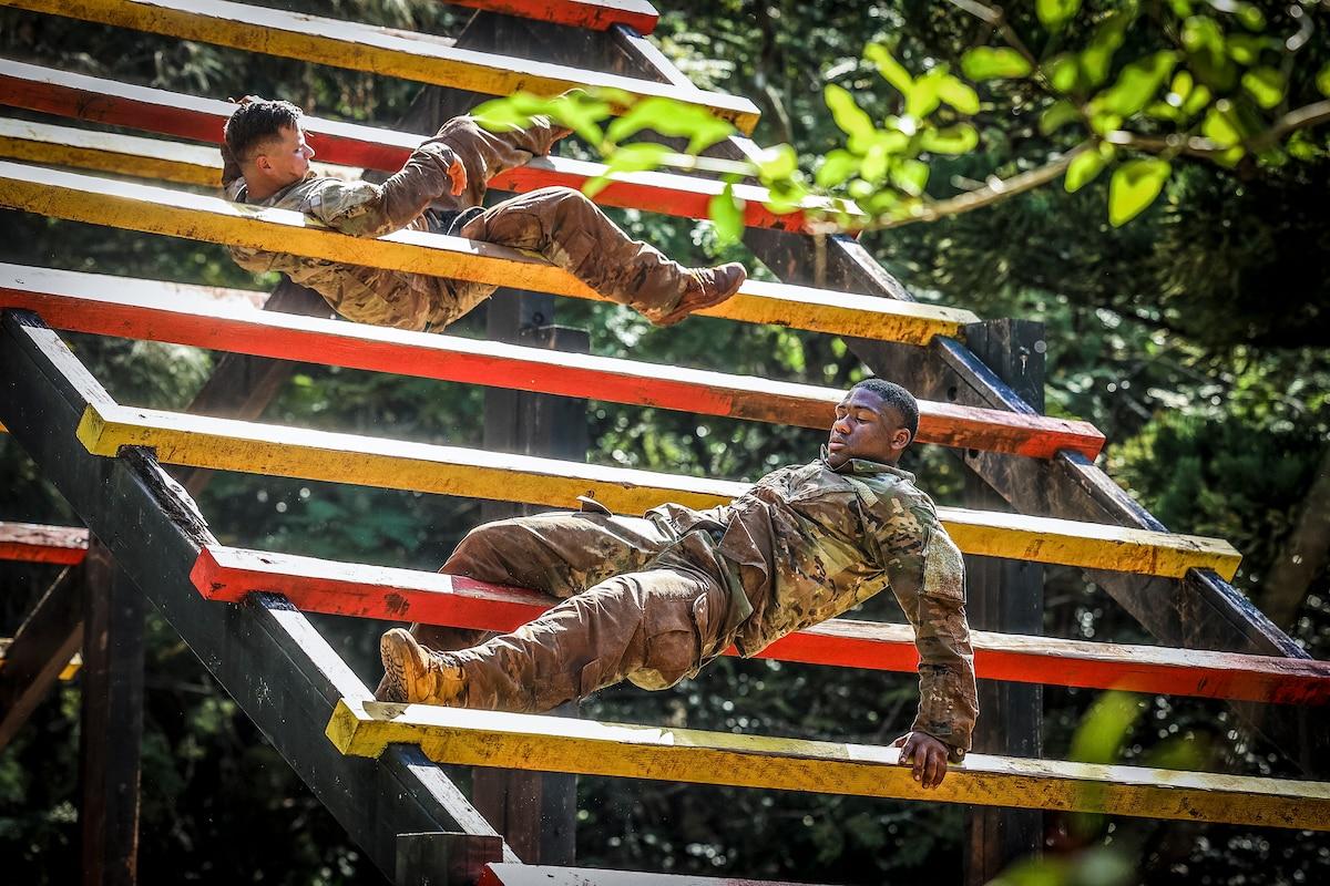 Two soldiers navigate a slanted, ladder-like obstacle in wooded surroundings.