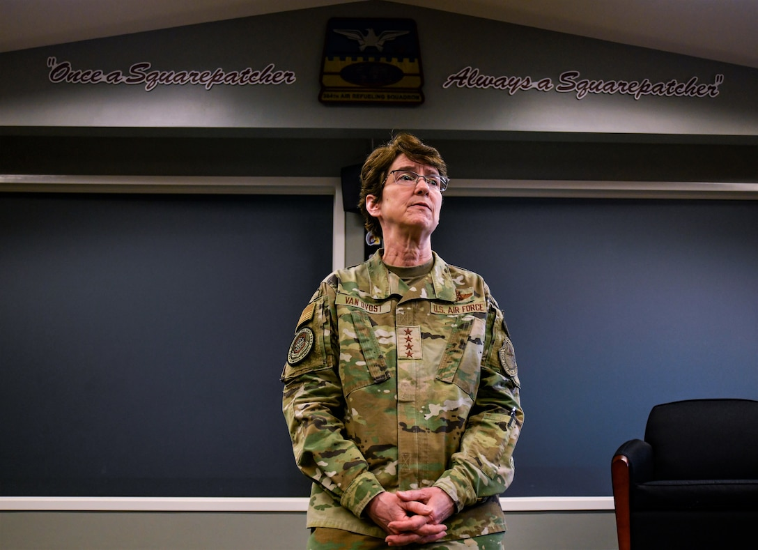 U.S. Air Force Gen. Jacqueline Van Ovost, Air Mobility Command commander, prepares to tour the 384th Air Refueling Squadron after briefing pilots at Fairchild Air Force Base, Washington, March 4, 2021. Van Ovost previously commanded the 384th ARS when it was located at McConnell Air Force Base, Kansas. (U.S. Air Force photo by Senior Airman Ryan Gomez)