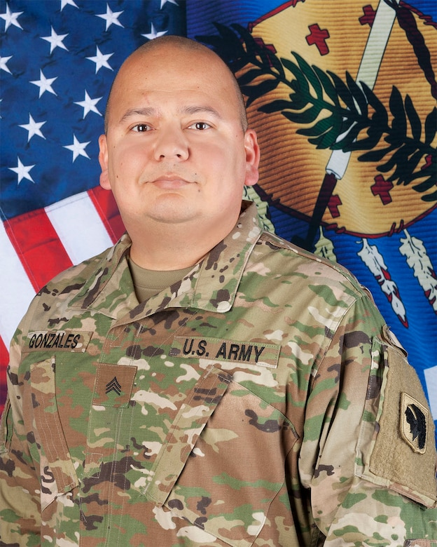Sgt. Pedro Gonzales, a member of the Oklahoma Army National Guard, received the Oklahoma Star of Valor March 4, 2021, for risking his life to save the life of a neighbor who was being attacked with a knife in September 2020. Gonzales suffered serious wounds to his face and neck but has recovered.