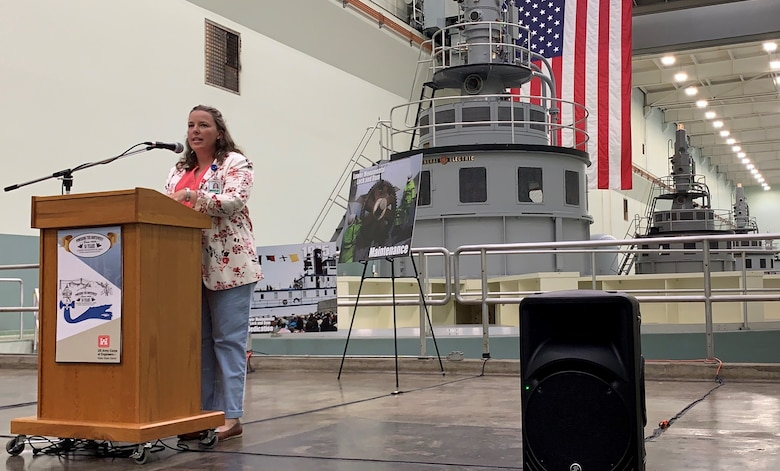 Operations Project Manager Jeannette Wilson speaking at the 50th anniversary ceremony for Lower Monumental Lock and Dam in 2019.