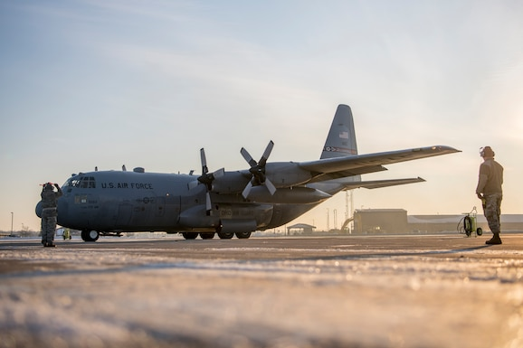 Airmen from the 179th Airlift Wing, Mansfield, Ohio, depart their home station in a C-130H Hercules, Feb. 21, 2021.