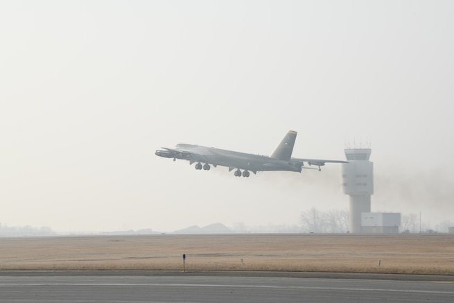 "B-52H Stratofortress ""Heavy Hauler"", assigned to the 5th Bomb Wing, takes off on March 6, 2021, at Minot Air Force Base, North Dakota. The United States maintains a strong, credible strategic bomber force that enhances the security and stability of allies and partners. (U.S. Air Force photo by Senior Airman Josh W. Strickland)"