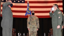 Lt. Col. Matthew Ghormley, right, relinquishes command of the 931st Operations Support Squadron during a change of command ceremony March 6, 2021, at McConnell Air Force Base, Kansas.