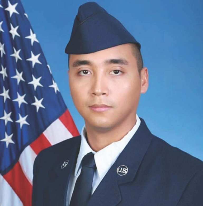 Senior Airman Ryan Diaz, with the 254th Rapid Engineer Deployable Heavy Operational Repair Squadron Engineers, is photographed at Lackland Air Force Base, Texas, Oct. 15, 2018. Diaz, son of Judith Sanchez, a 36th Wing program analyst,  joined the Guam Air National Guard after being inspired by his mother's 25 years of civilian military service. (Photo courtesy of Judith Sanchez)
