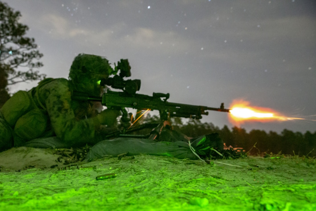 U.S. Marine Corps Lance Cpl. Stephen R. Abernathy, a Kernersville, N.C., native and fire-team leader with 2nd Battalion, 8th Marine Regiment, 2d Marine Division (2d MARDIV), fires an M240-B machine gun during live-fire attack on Range G-29, Camp Lejeune, N.C., March 5, 2021. This evolution included platoon level day and night live-fire training to increase proficiencies in dynamic and complex infantry skills. 2d MARDIV generates lethal forces that are able to support the full spectrum of operations around the world. Small unit leaders are entrusted by their commanders to maintain the highest levels of preparedness for global operations. (U.S. Marine Corps photo by Cpl. Elijah J. Abernathy)