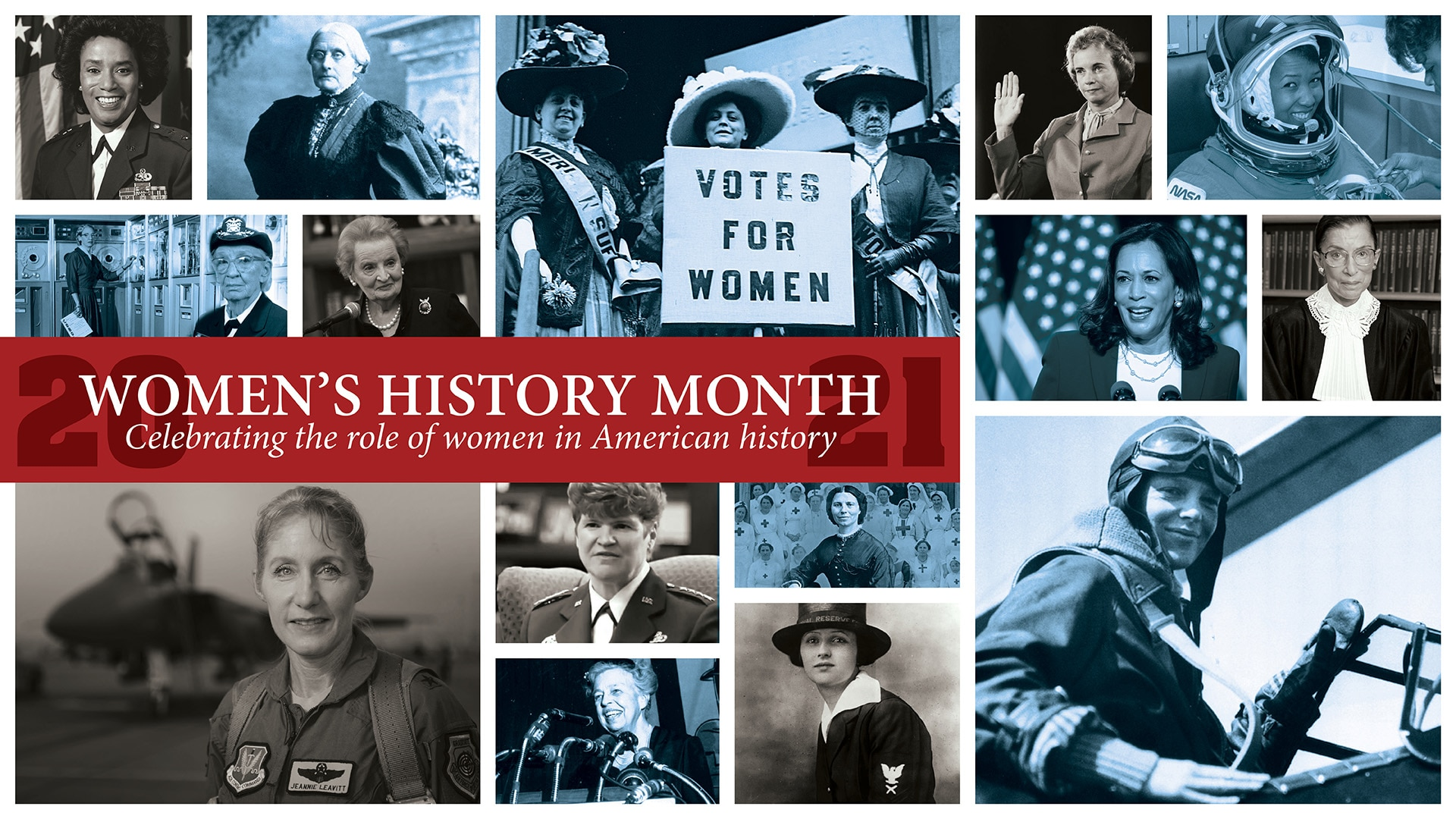 A group of small photos recognizing great women in history.
