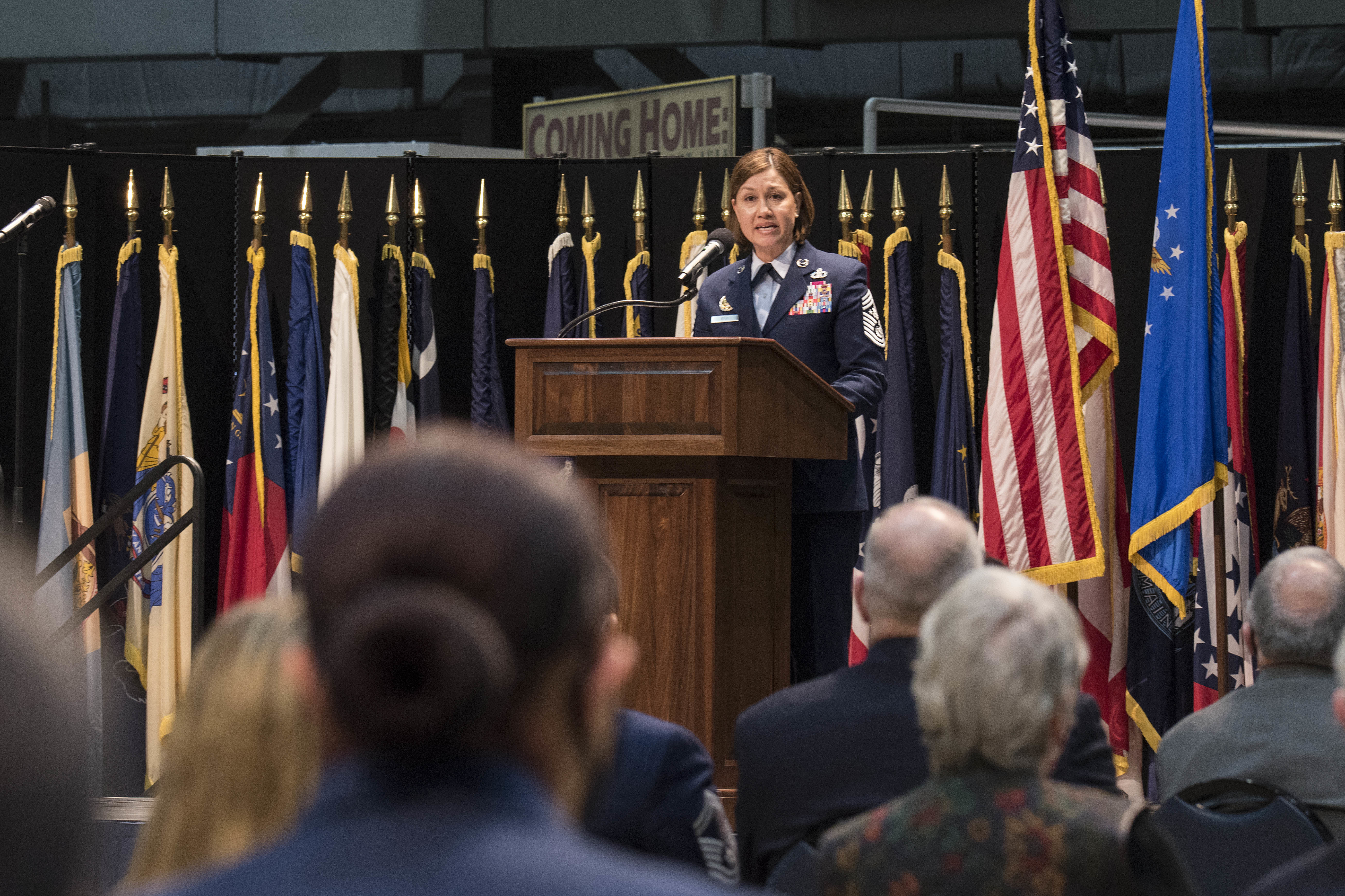 CMSgt Bass speaking at ceremony