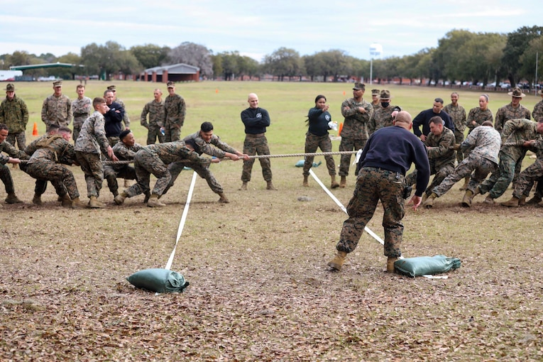 Marines compete in a tug of war competition.