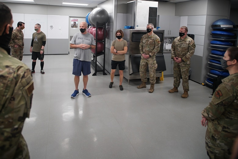 """Gen. John W. """"Jay"""" Raymond, Space Force Chief of Space Operations, on Mar. 3, 2021 thanks the Special Warfare Human Performance leadership team and experts after a guided tour of their facilities."""