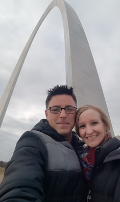 Canadian Armed Forces Capt. Patrick Rodrigue and his wife, Wendy, visit the St. Louis arch while stationed at Scott AFB.