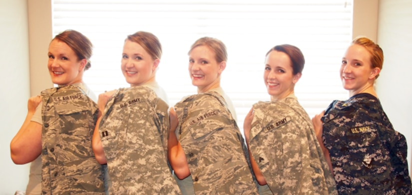 For military woman sanding