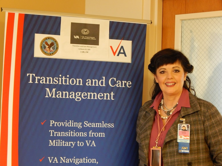 Liz Wilde is the St. Louis Department of Veterans Affairs' program coordinator for Transition and Care Management. She helps retiring and separating servicemembers by educating them about VA benefits and services. Her office is on the fifth floor at the base medical clinic.